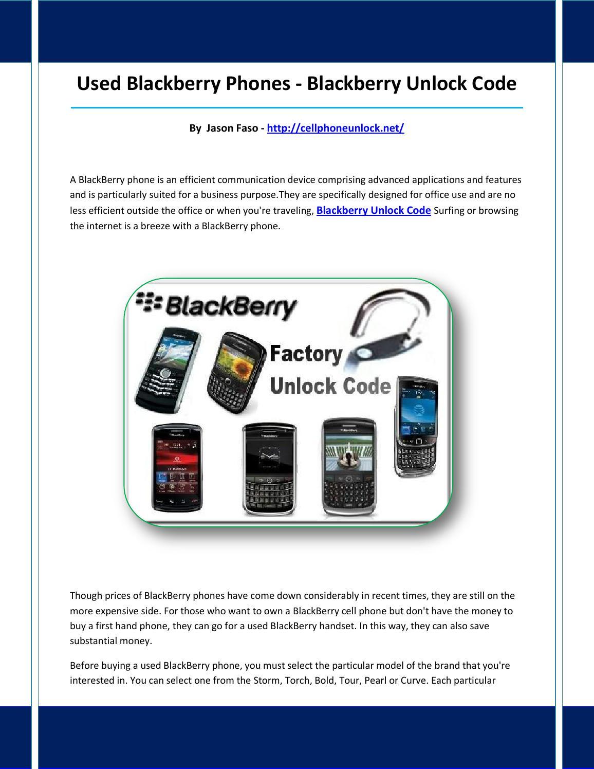 Blackberry unlock code by nosereoer - issuu