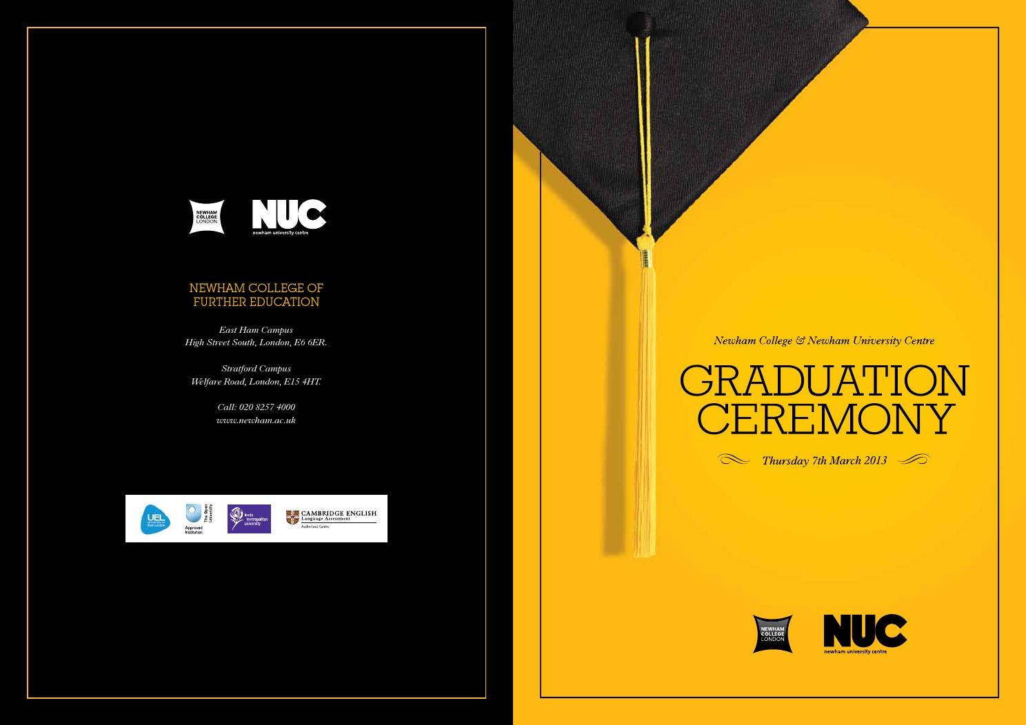 nuc first graduation brochure by marketing at newham