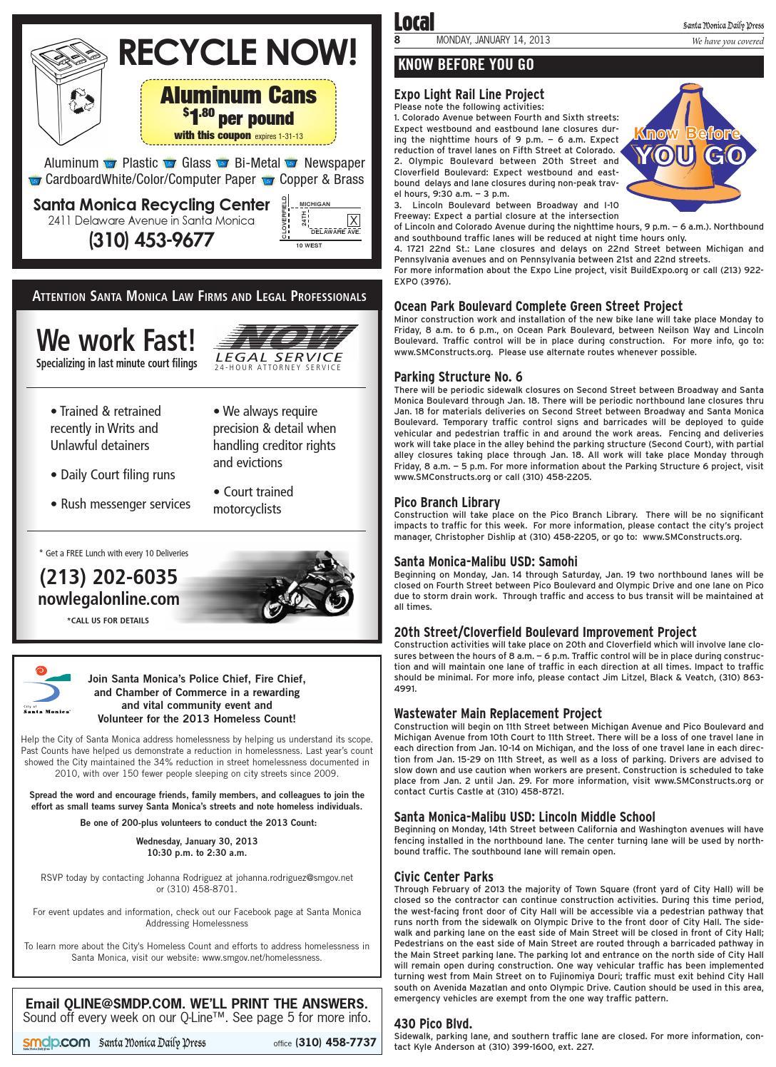 Santa Monica Daily Press, January 14, 2013 by Santa Monica Daily