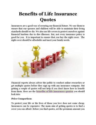 Benefits Of Life Insurance Quotes By Peterenderson Issuu Best Life Insurances Quotes