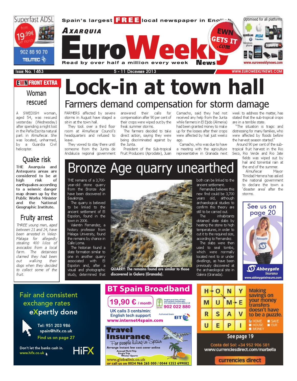 Euro Weekly News Axarquia 5 11 December 2013 Issue 1483 By Euro Weekly News Media S A Issuu