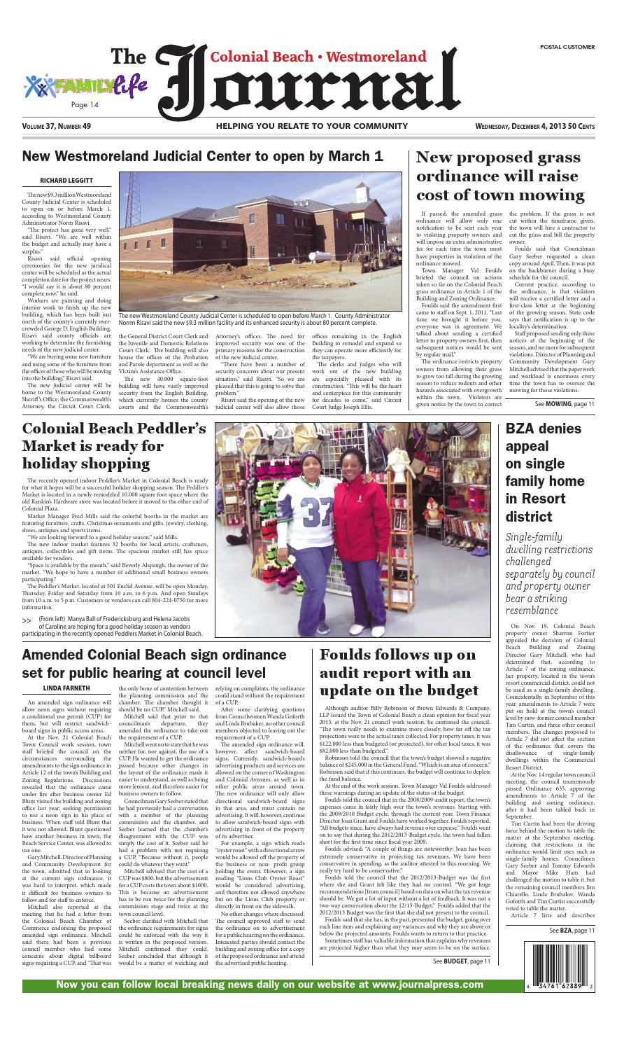 Dec 4 2013 Colonial Beach Westmoreland County Virginia Journal By Journalpressinc Issuu