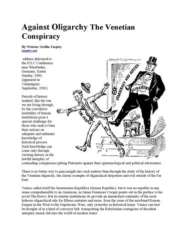 Against Oligarchy By Webster Griffin Tarpley By Freedom Of Speech