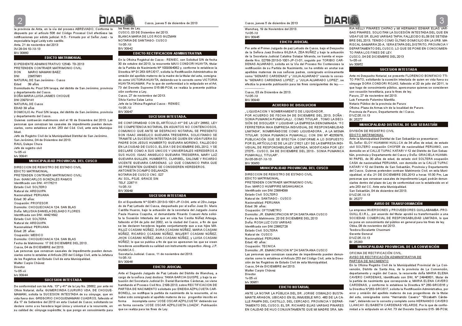 Avisos Judiciales 5 12 13 by El Diario del Cusco - issuu