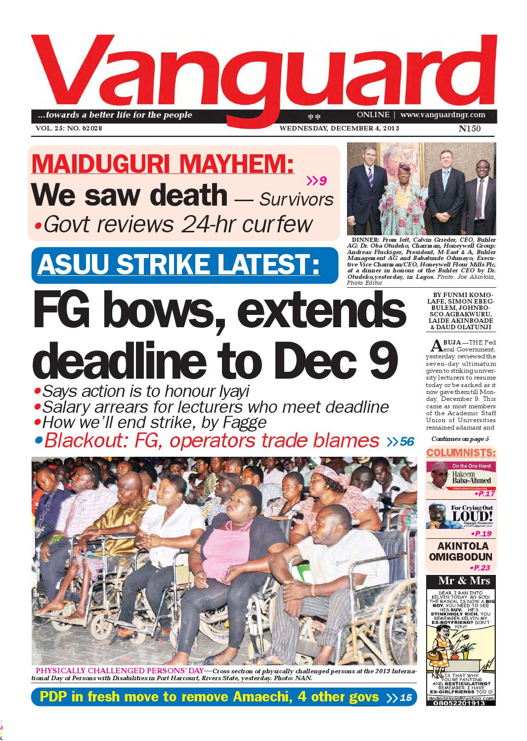 FG bows, extends deadline to Dec 9 by Vanguard Media Limited