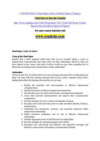 com200 wk5 final paper Transcript of com 200 week 5 final paper letter of advice paper com 200 week 5 final paper letter of advice paper.