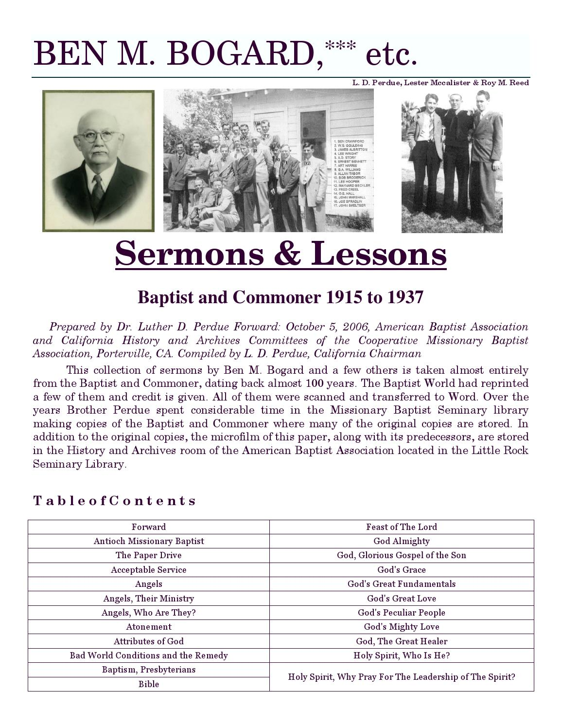 Sermons and lessons by Dr  Ben M  Bogard, etc  by Shayne
