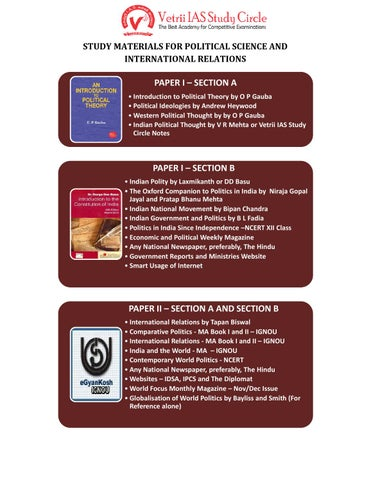 STUDY MATERIALS FOR POLITICAL SCIENCE AND INTERNATIONAL RELATIONS by