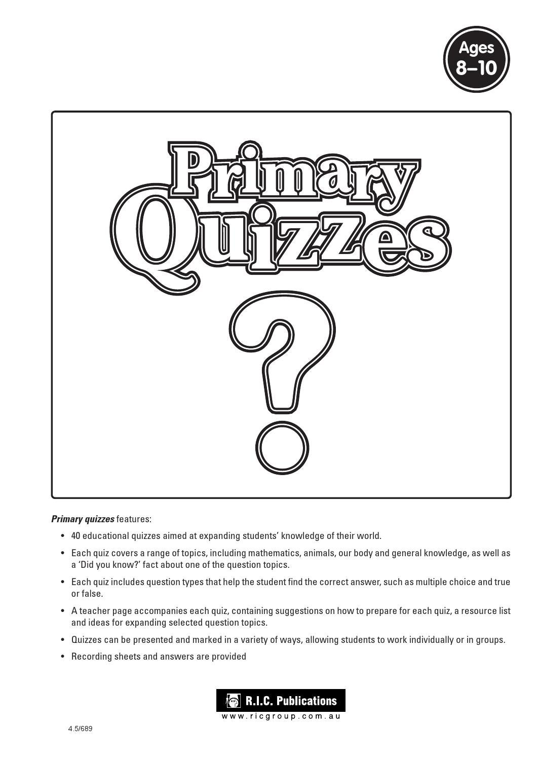 Primary Quizzes: Ages 8-10 by Teacher Superstore - issuu