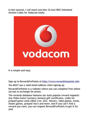How To Get FREE Unlimited Airtime Codes for Vodacom easily by