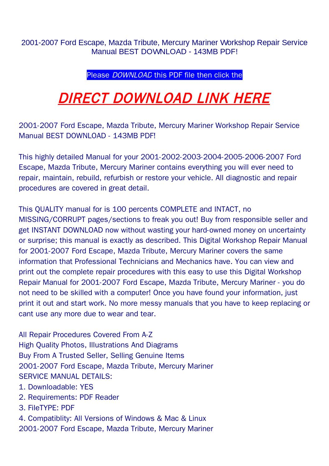 2001 2007 ford escape, mazda tribute, mercury mariner workshop repair  service manual best download 1 by rock-pagelarge.com - issuu