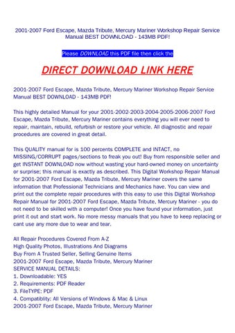 ford escape 2005 workshop manual