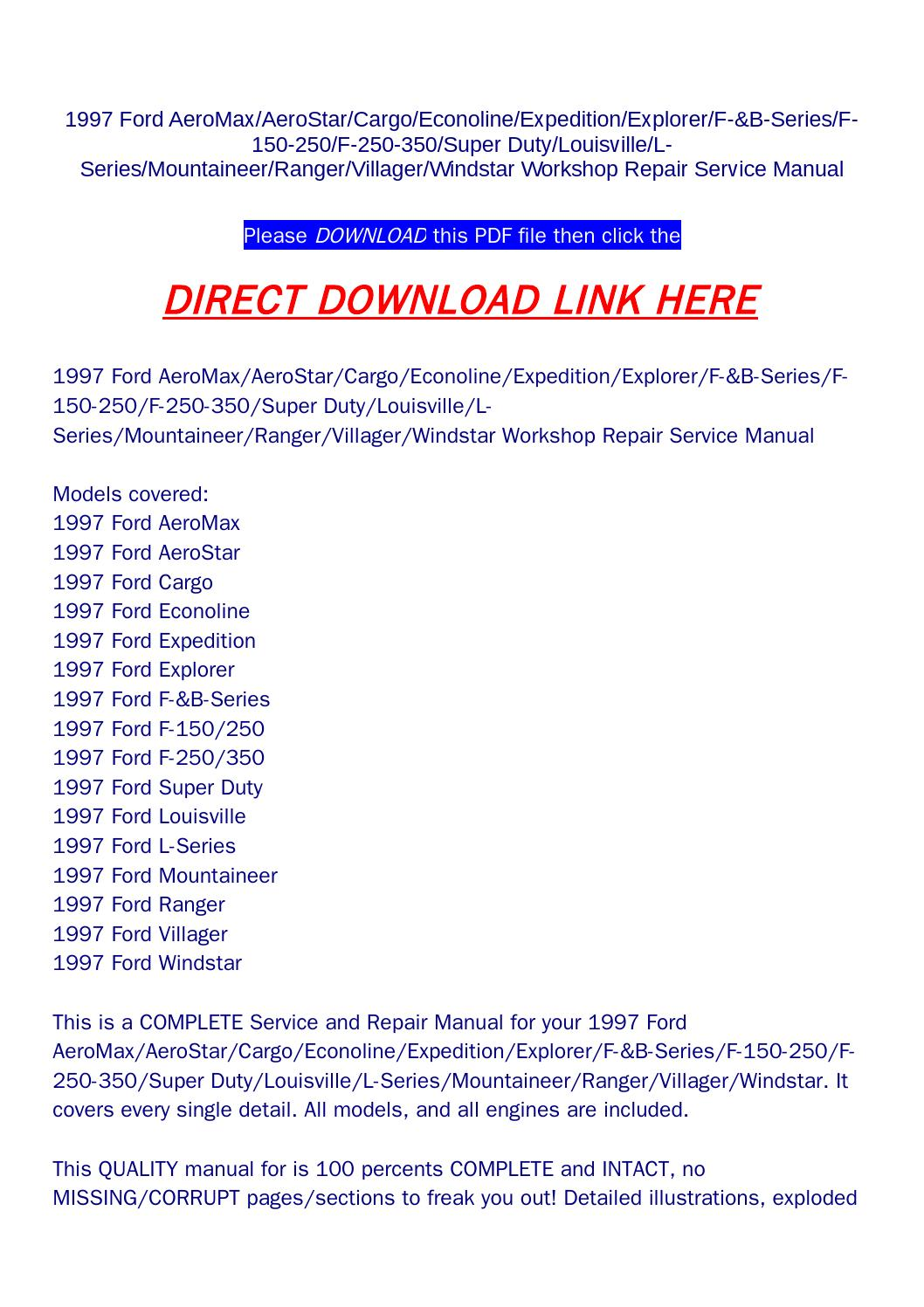 Car Manuals & Literature Vehicle Parts & Accessories 1997 ford ...