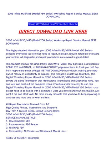 2006 infiniti m35 m45 model y50 series workshop repair service rh issuu com 2006 infiniti m35x service manual 2006 infiniti m35 manual