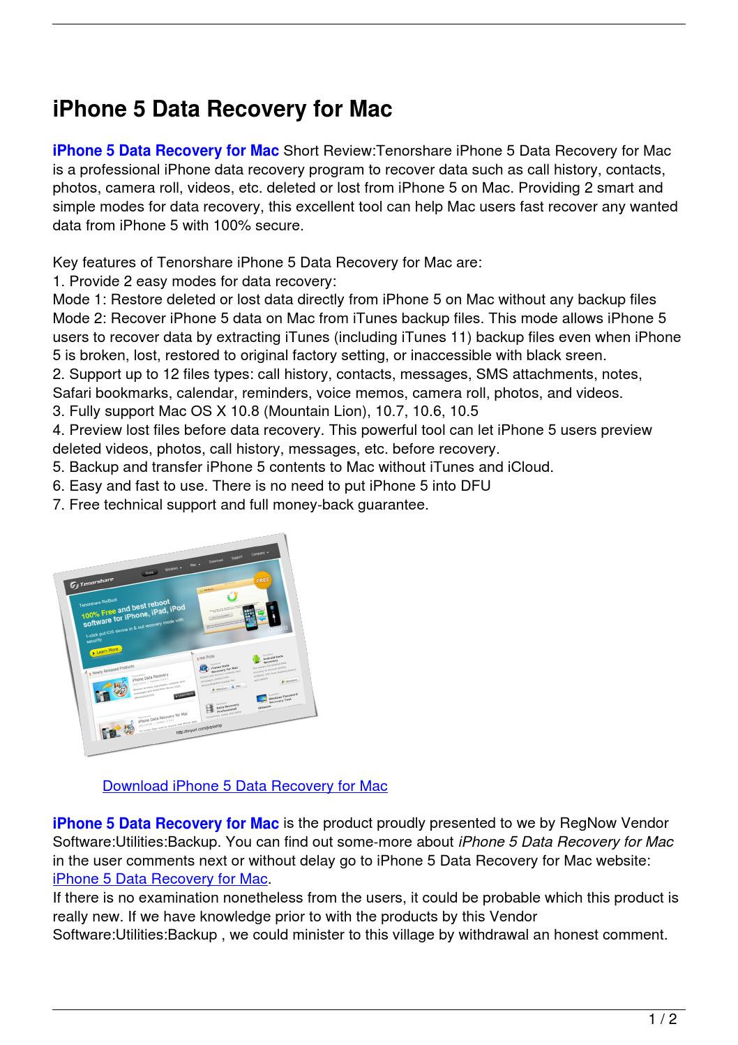 iPhone 5 Data Recovery for Mac by Bochiha Mazdoucni  Issuu