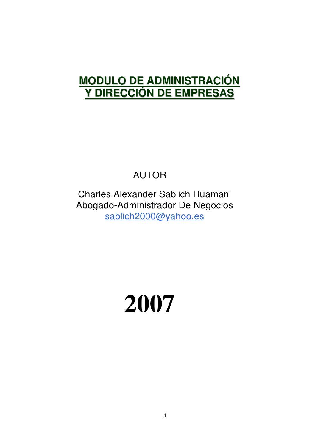 Modulo administracion direccion empresas libro by Charles Alexander ...