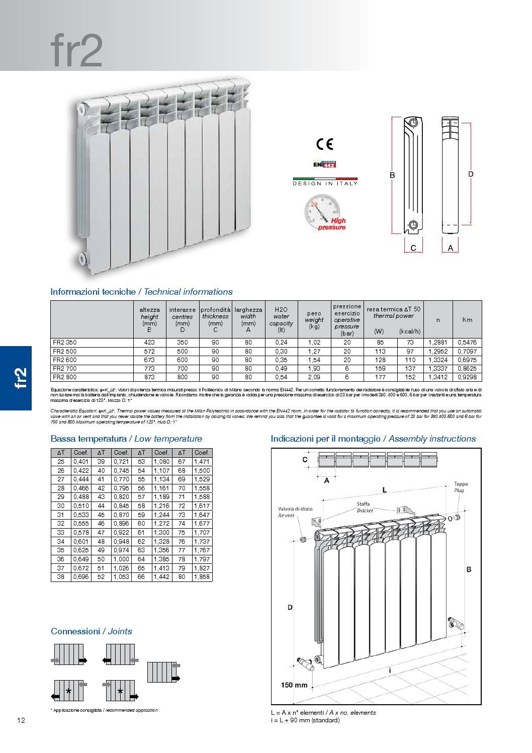 Scheda tecnica radiatore in alluminio fr2 by non solo for Helios termocamini scheda tecnica