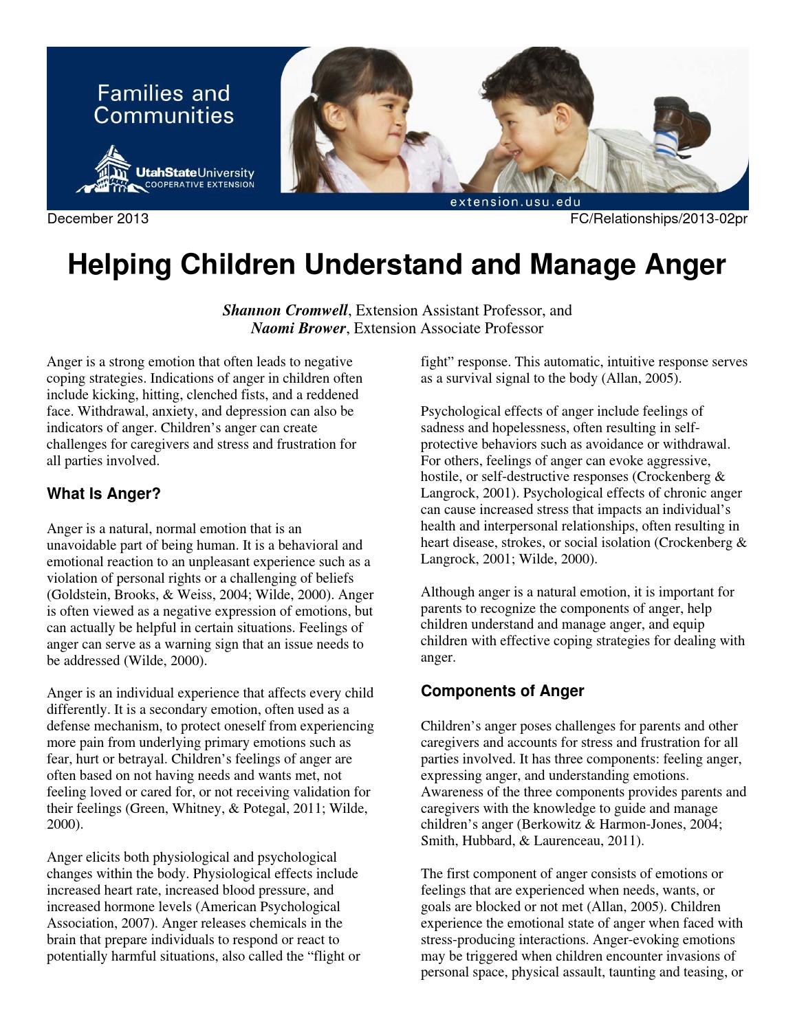 Helping Children Understand and Manage Anger by Utah State