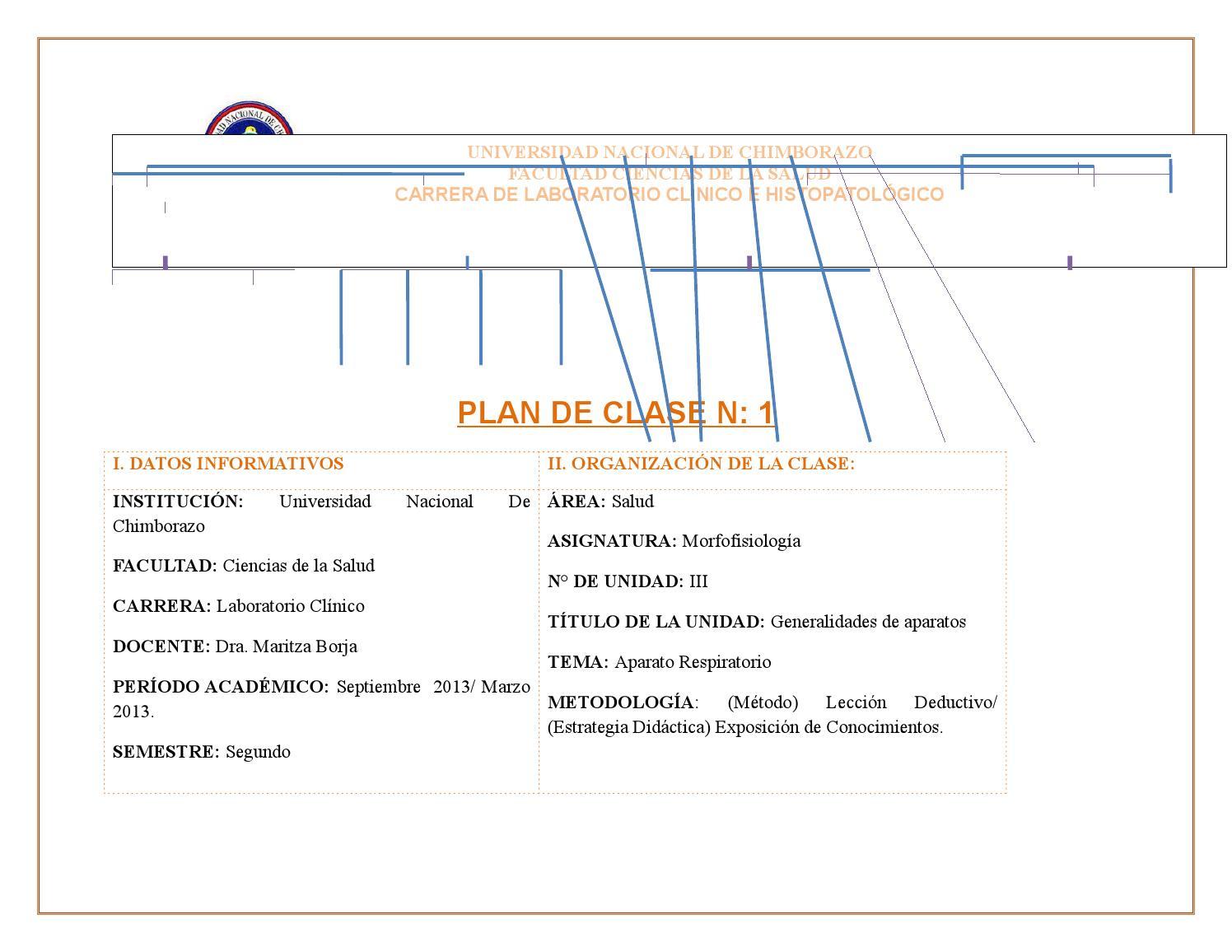 Plan de clase aparato respiratorio by MARITZA ALEXANDRA BORJA ...