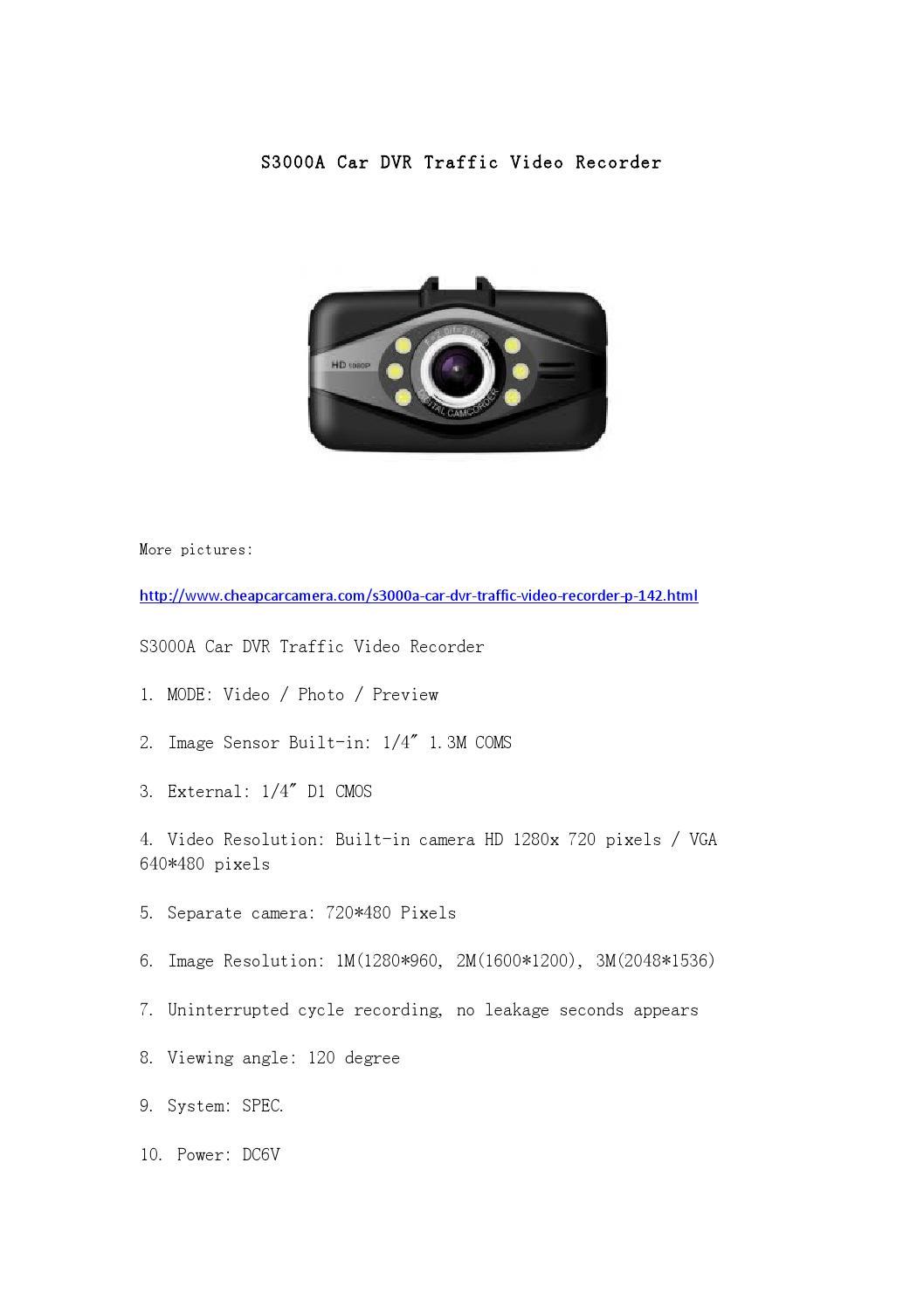 s3000a car dvr traffic video recorder by cardvr carcamera