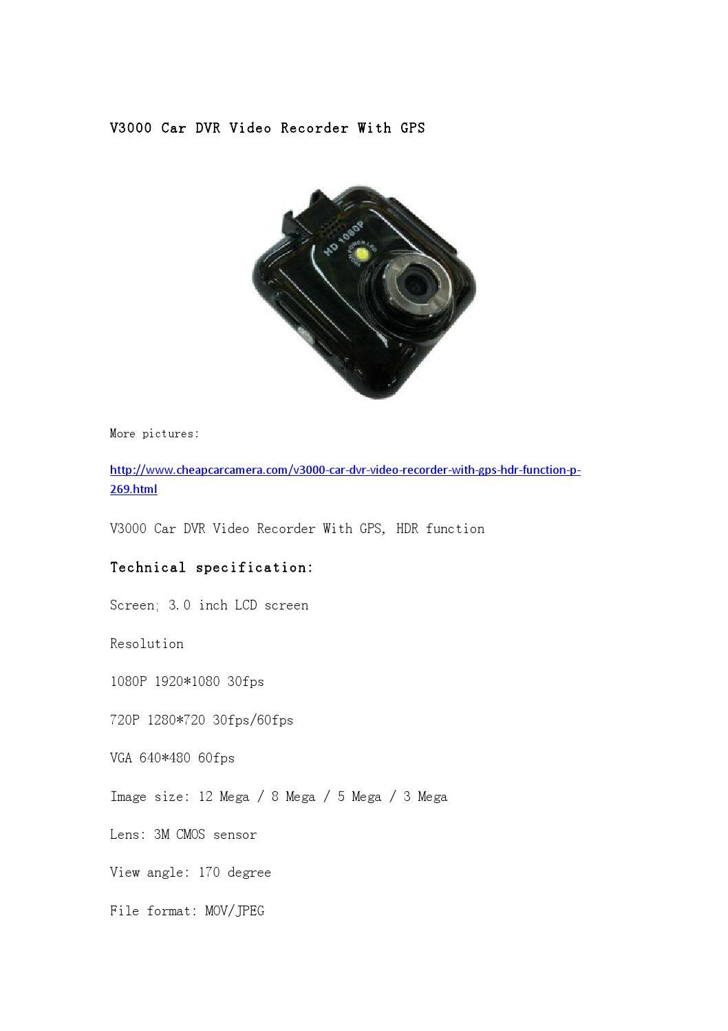 v3000 car dvr video recorder with gps by cardvr carcamera