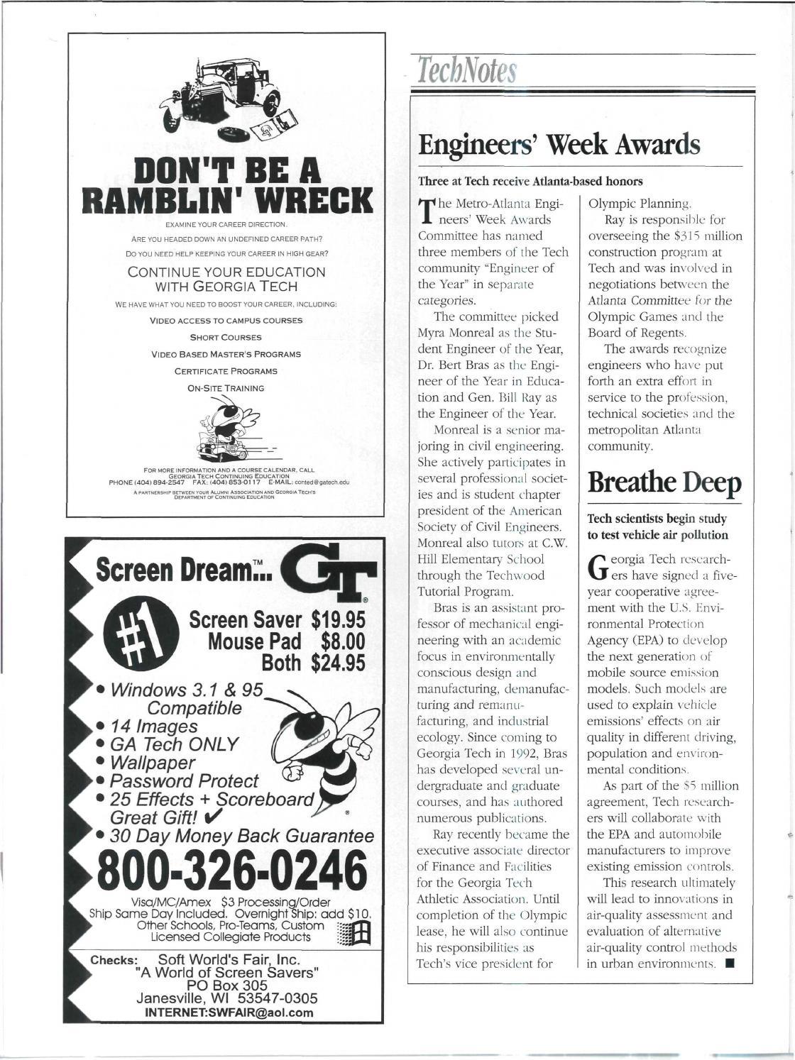 Georgia Tech Alumni Magazine Vol  72, No  04 1996 by Georgia