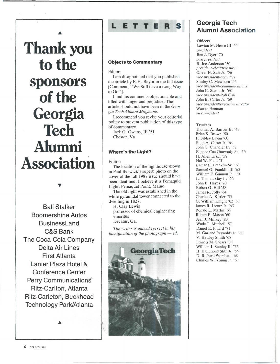 Georgia Tech Alumni Magazine Vol  63, No  02 1988 by Georgia
