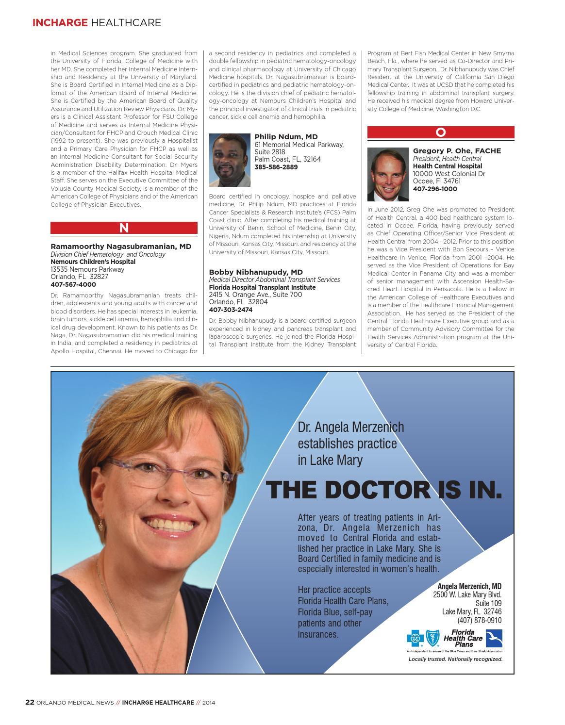 Orlando Medical News InCharge 2014 by FW Publishing - issuu