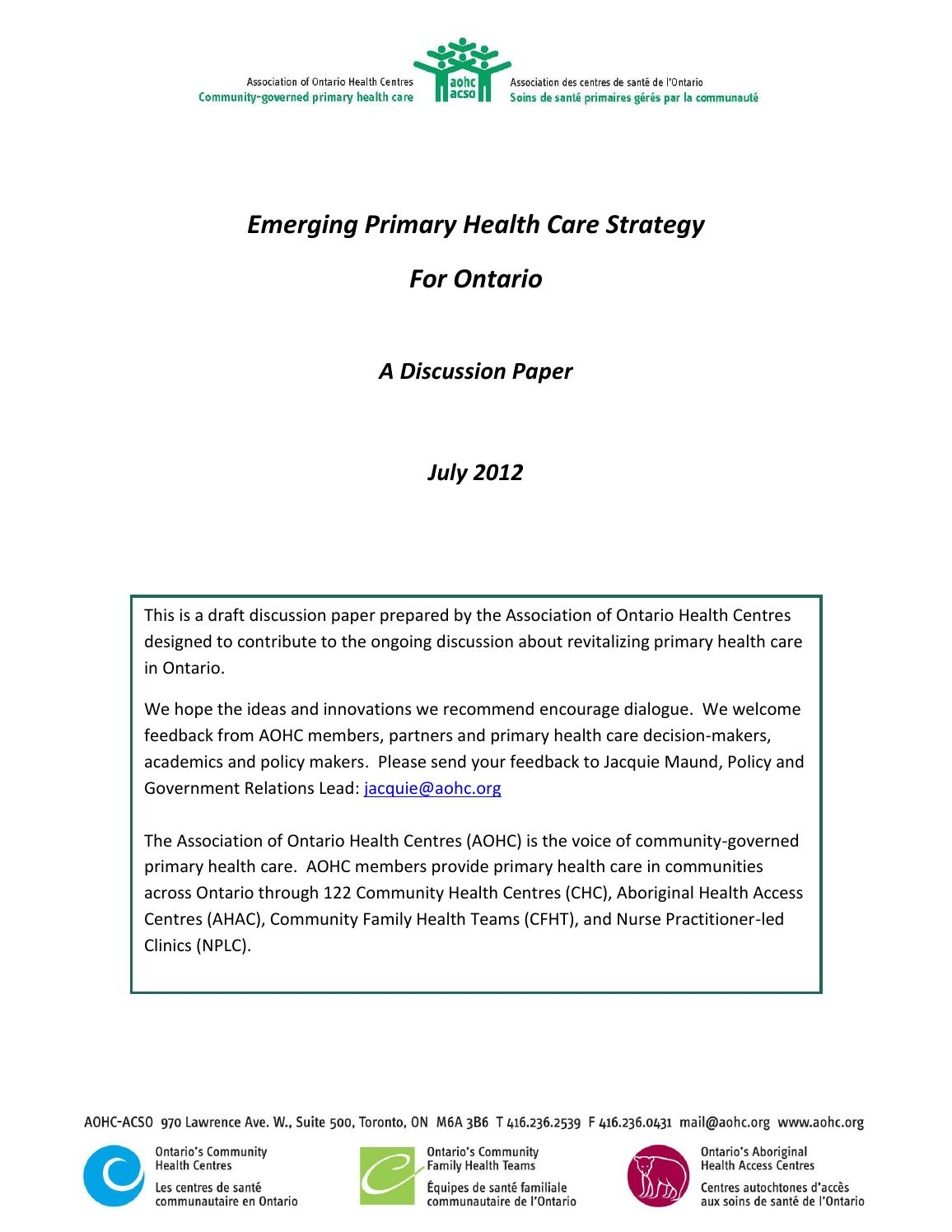 Final emerging primary health care strategy for ontario july