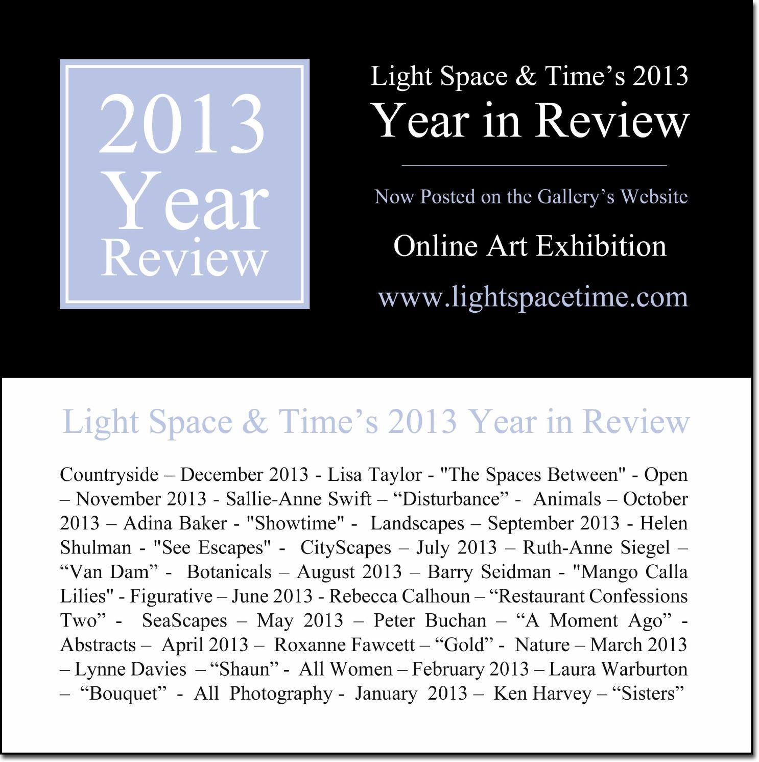 2013 year in review event postcard by light space time for Online art galleries reviews