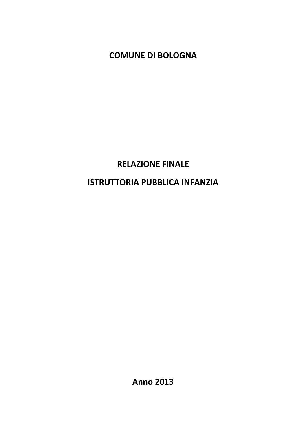 PUBBLICAZIONE DELLA RELAZIONE FINALE ISTRUTTORIA PUBBLICA INFANZIA