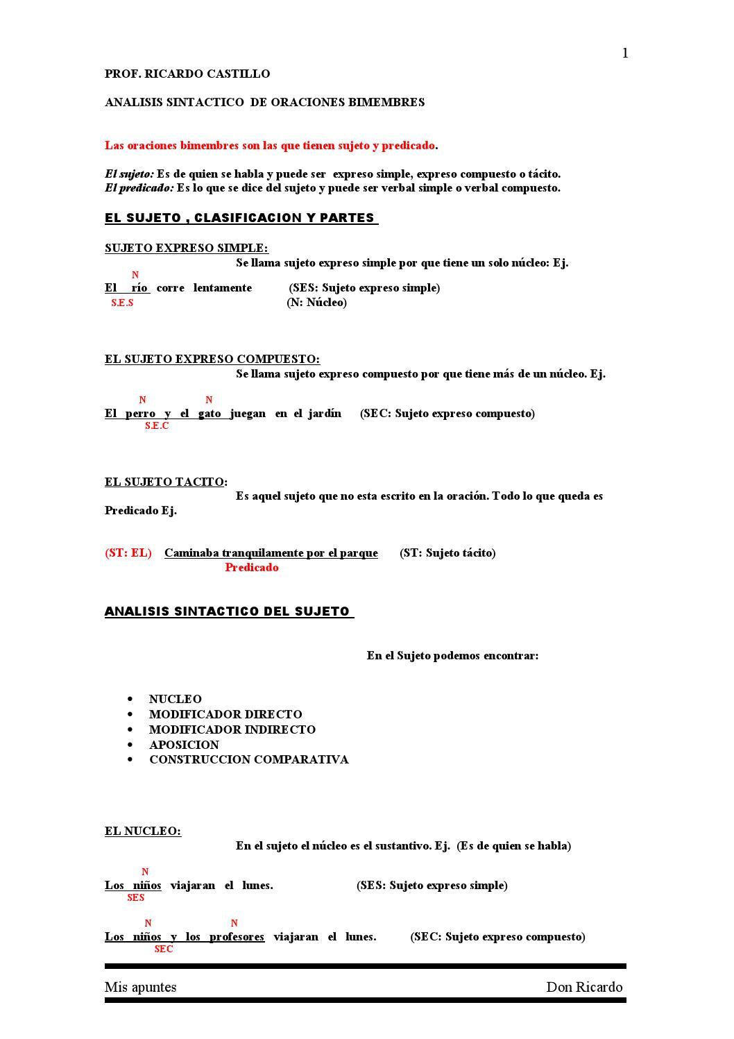 Analisis Sintactico De Oraciones Bimembre Ii 1 By Ricardo