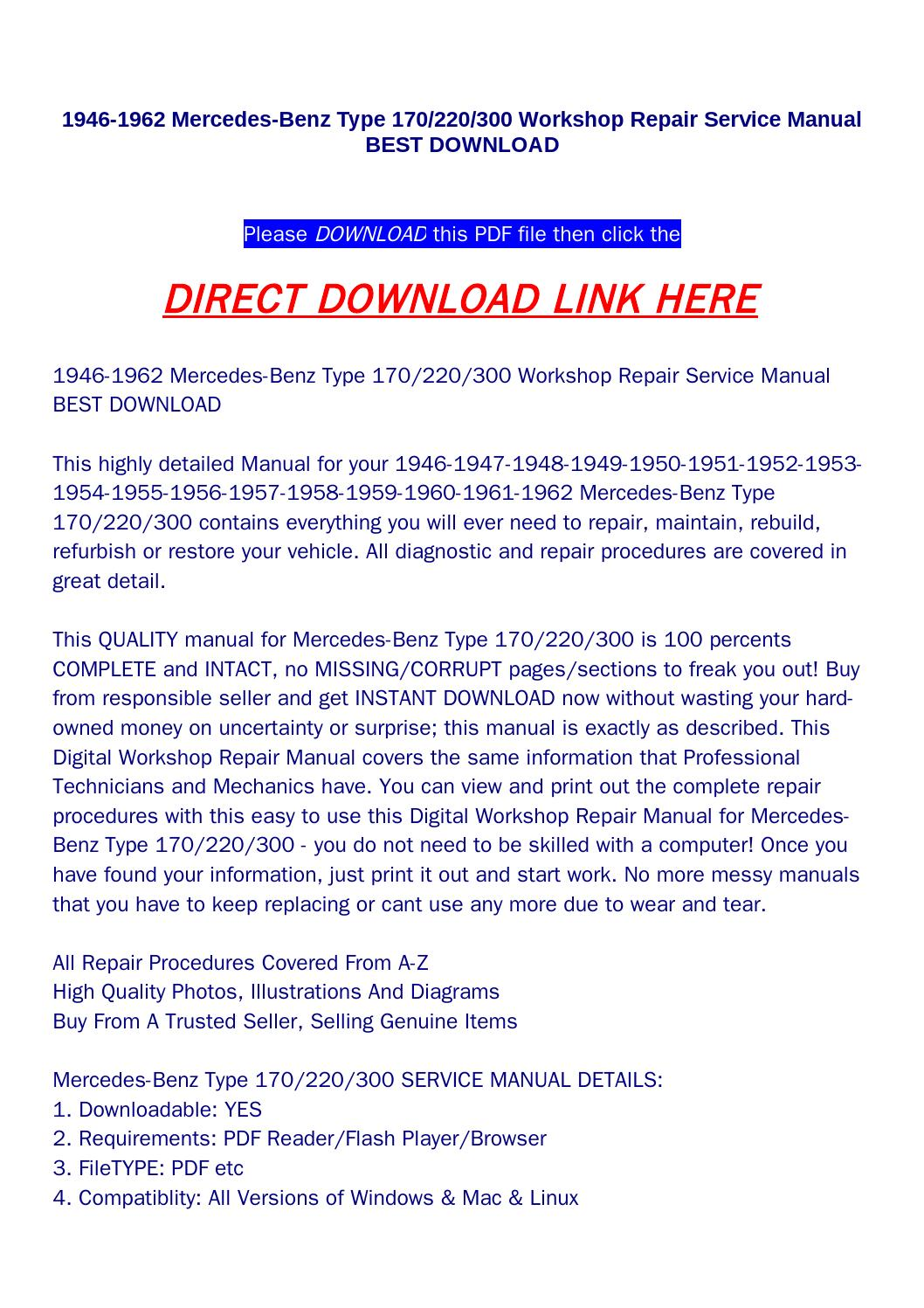 1946 1962 Mercedes Benz Type 170 220 300 Workshop Repair Service 1958 Wiring Diagram Manual Best Download By Rock Pagelargecom Issuu