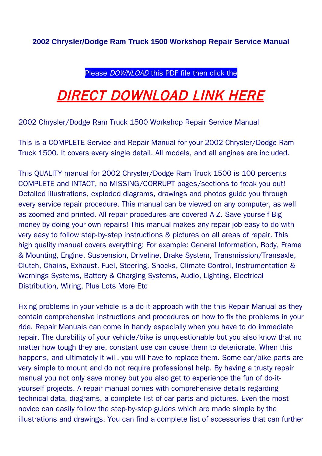2002 Chrysler Dodge Ram Truck 1500 Workshop Repair Service Manual By Diagrams Rock Pagelargecom Issuu
