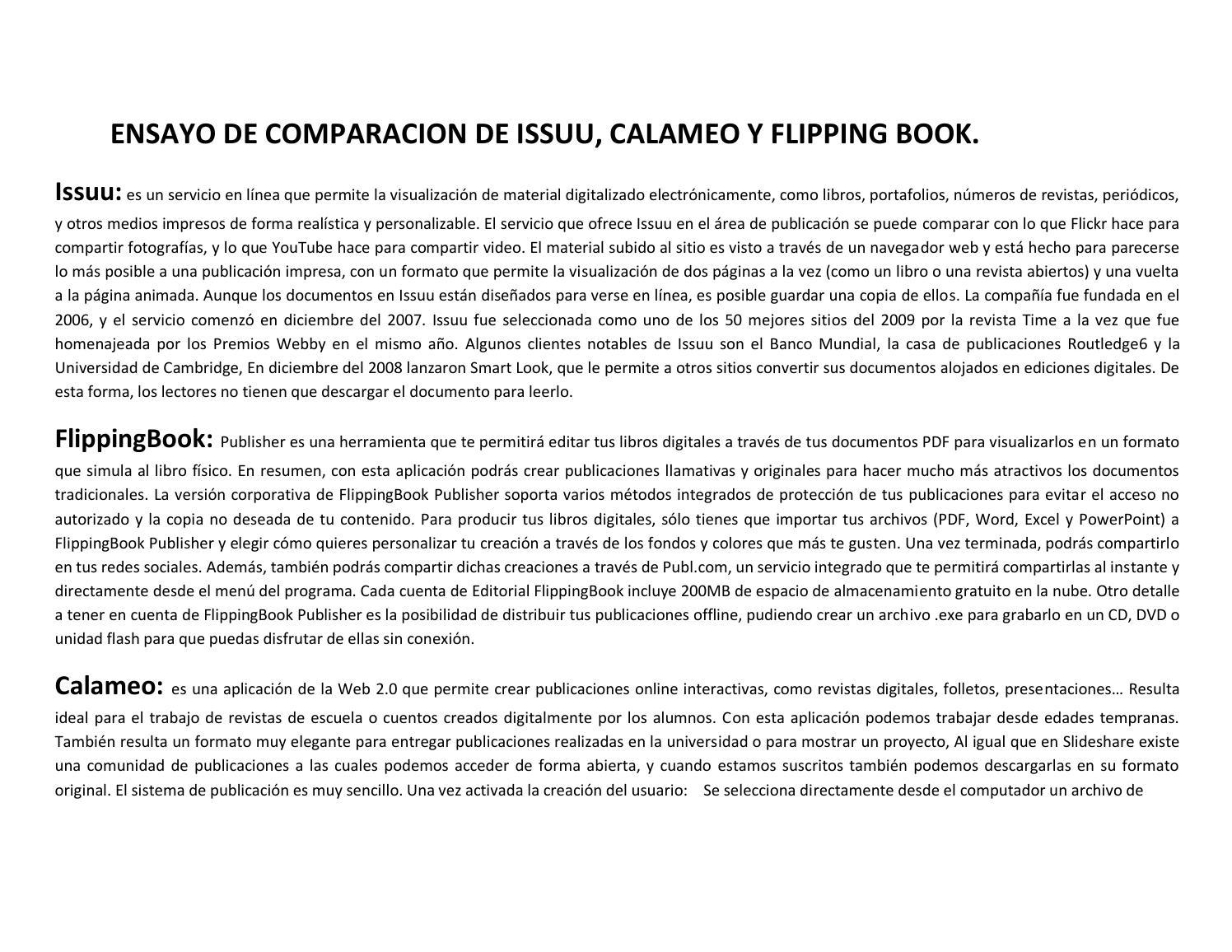 Ensayo de comparacion de issuu, calameo y flipping book por danilo ...