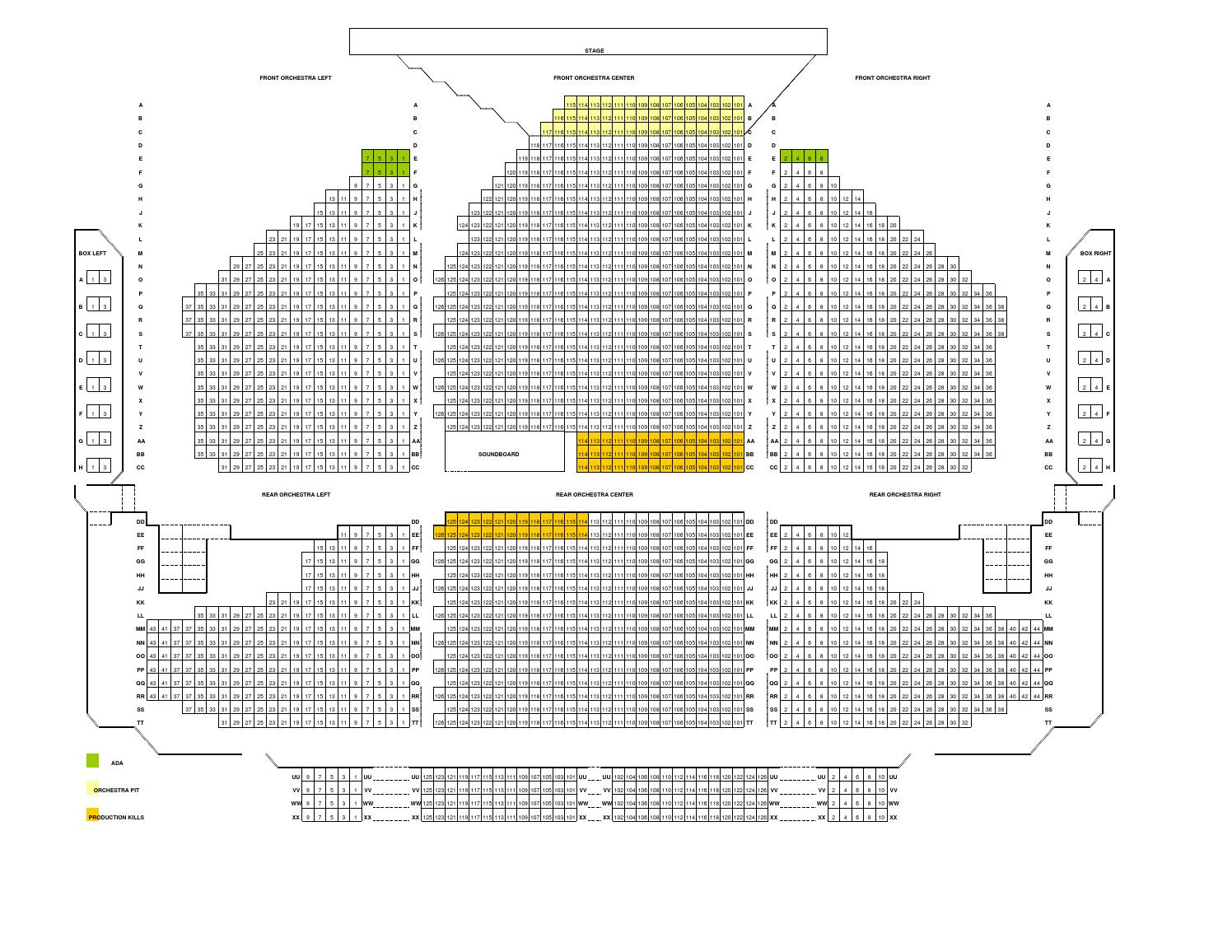 soldiers and sailors memorial auditorium seating map by