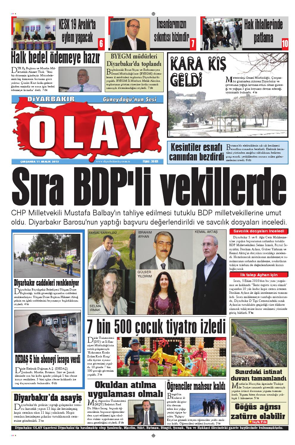 11 12 2013 Gazete Sayfalari By Diyarbakir Olaygazetesi Issuu