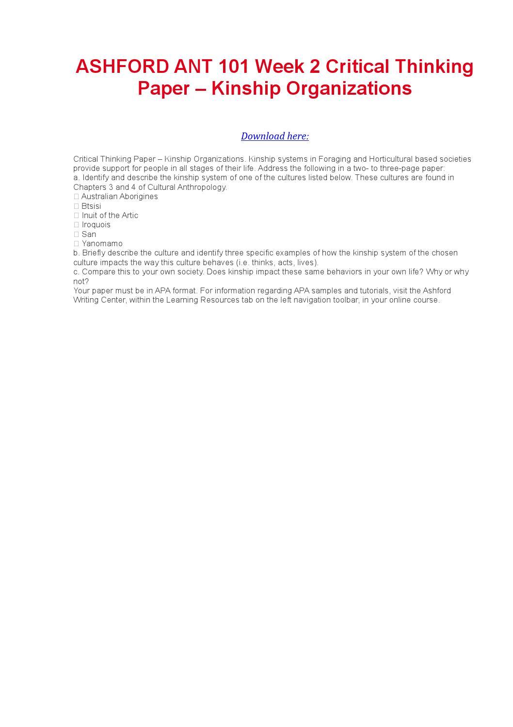 Critical thinking application paper kinship organizations