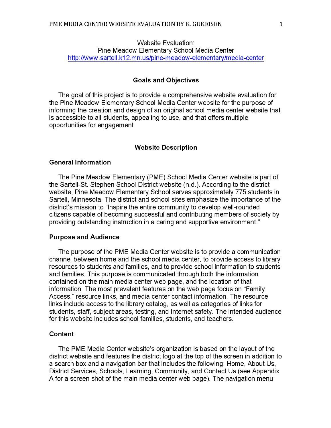 School Media Center Web Site Assessment & Design by Kate