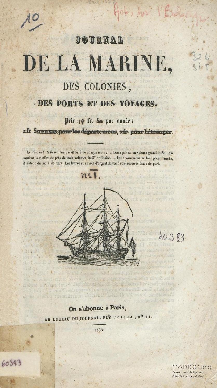 Journal De La Marine Des Colonies Des Ports Et Des Voyages By Bibliotheque Numerique Manioc Scd Universite Antilles Issuu
