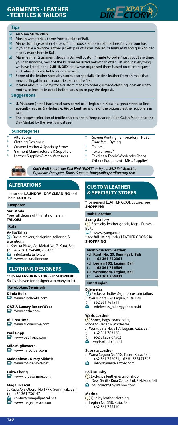 Bali Directory 2012-2013 Business Directory