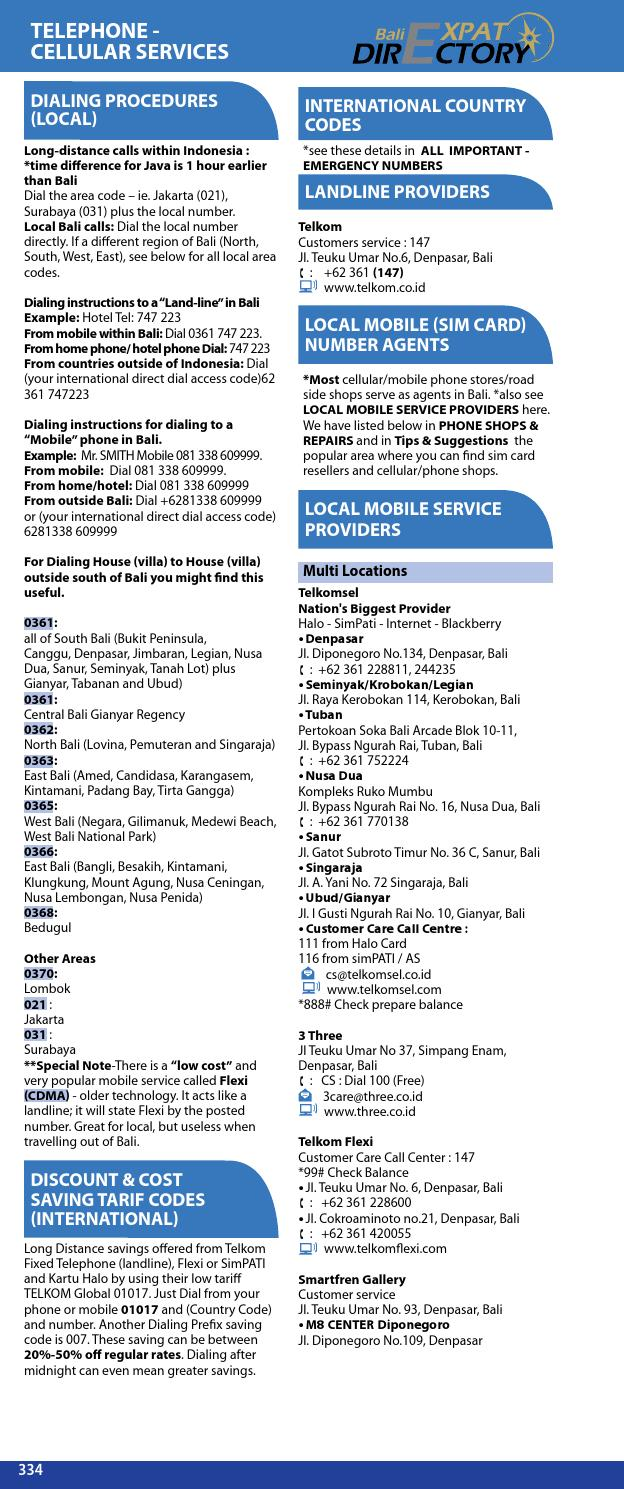 Home Phone Service Providers >> Bali Directory 2012 2013 Business Directory Updated Edition