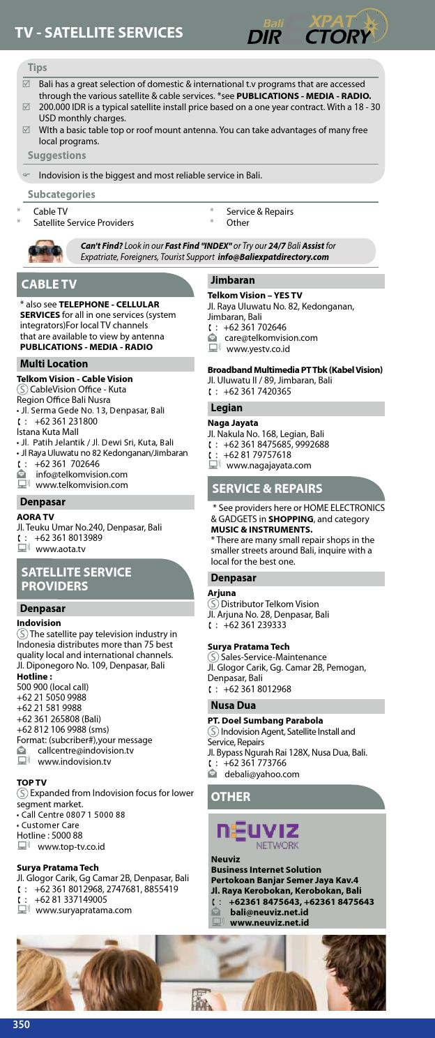Tv Service Providers >> Bali Directory 2012 2013 Business Directory Updated Edition