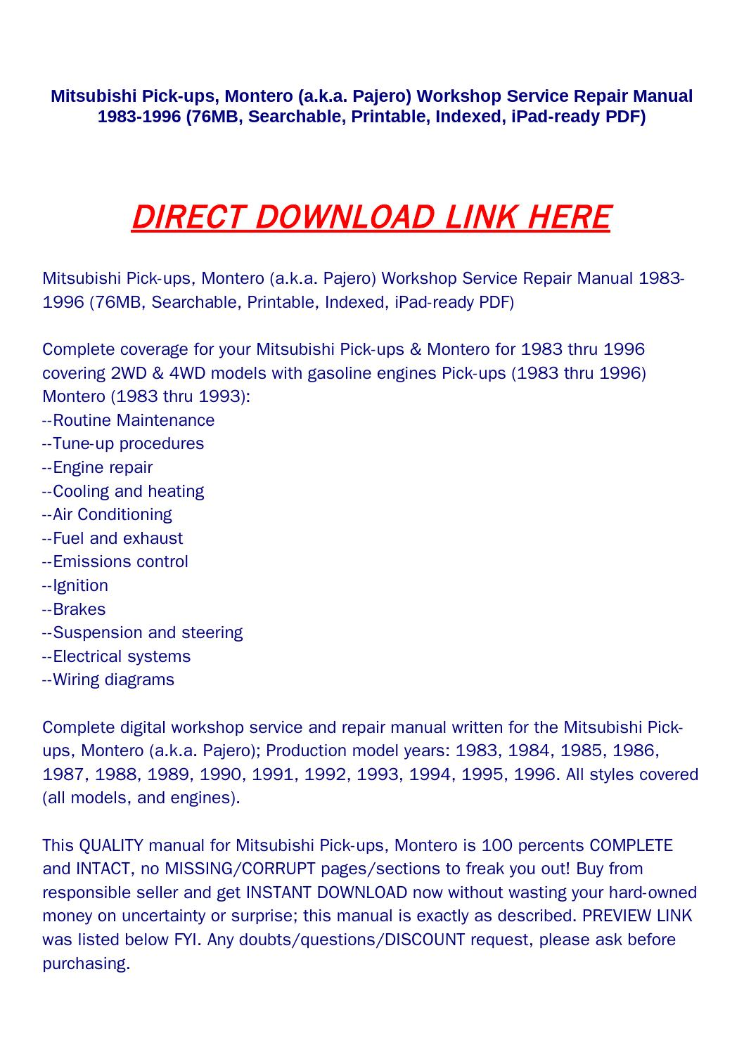Mitsubishi pick ups, montero (a k a pajero) workshop service repair manual  1983 1996 (76mb, searchab by rock-pagelarge.com - issuu