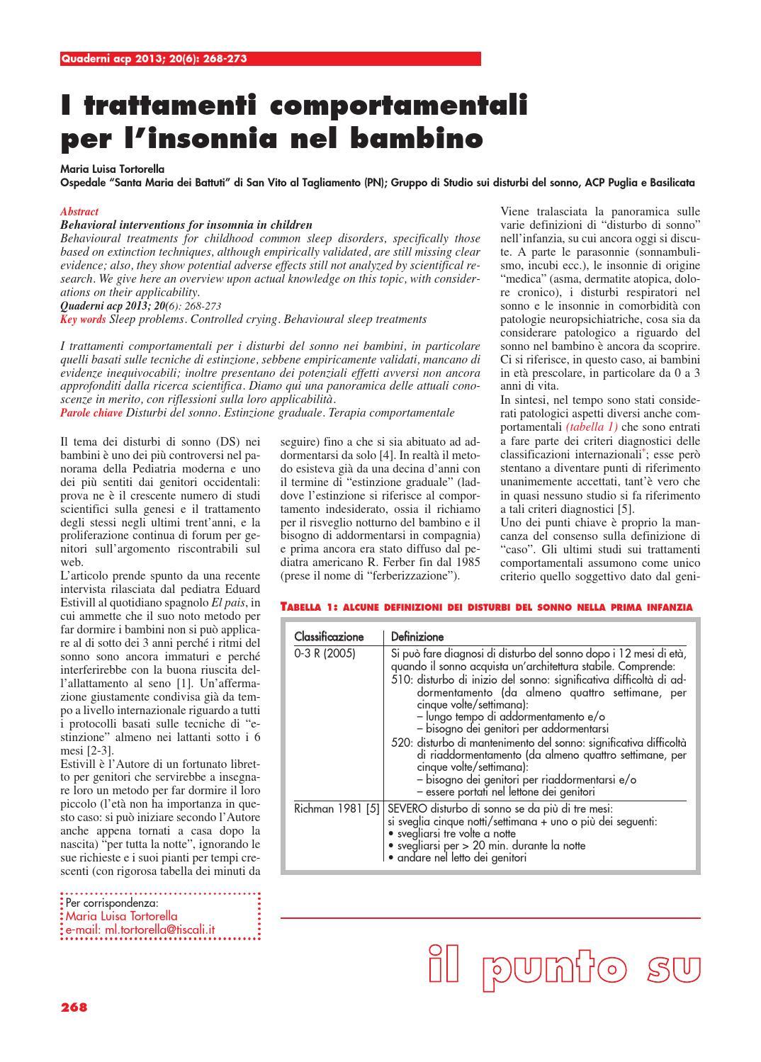 Metodo Estivill Per Dormire quaderni acp 2013 20(6) by associazione culturale pediatri