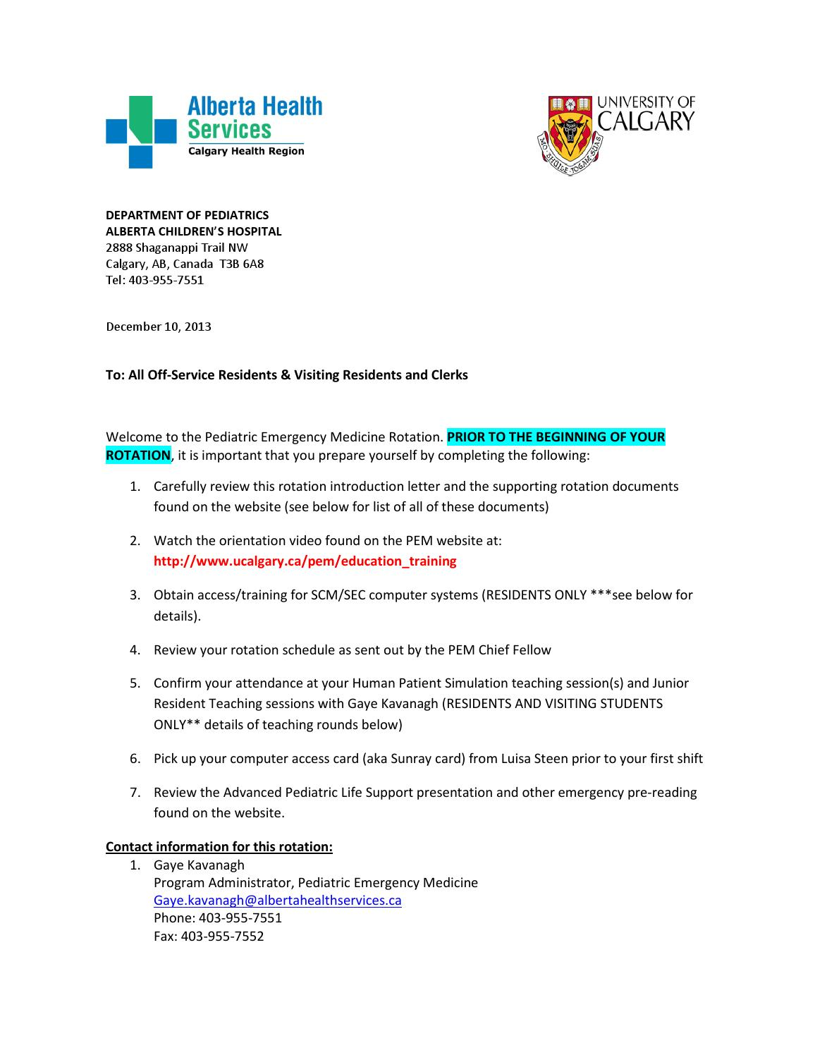 Orientation letter by Department of Paediatrics - University