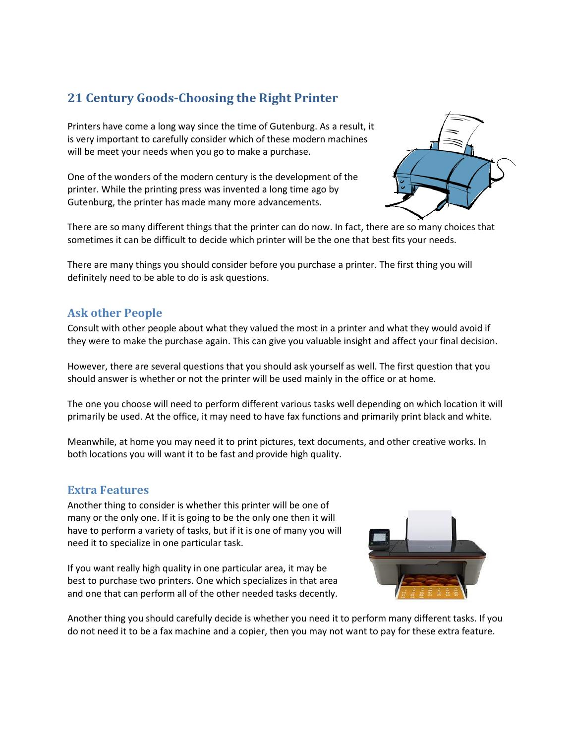 Choosing the Right Printer by McClain My - issuu