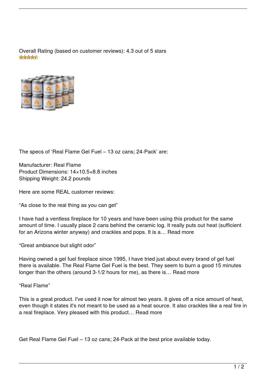 Real Flame Gel Fuel 8211 13 Oz Cans 24 Pack Review By