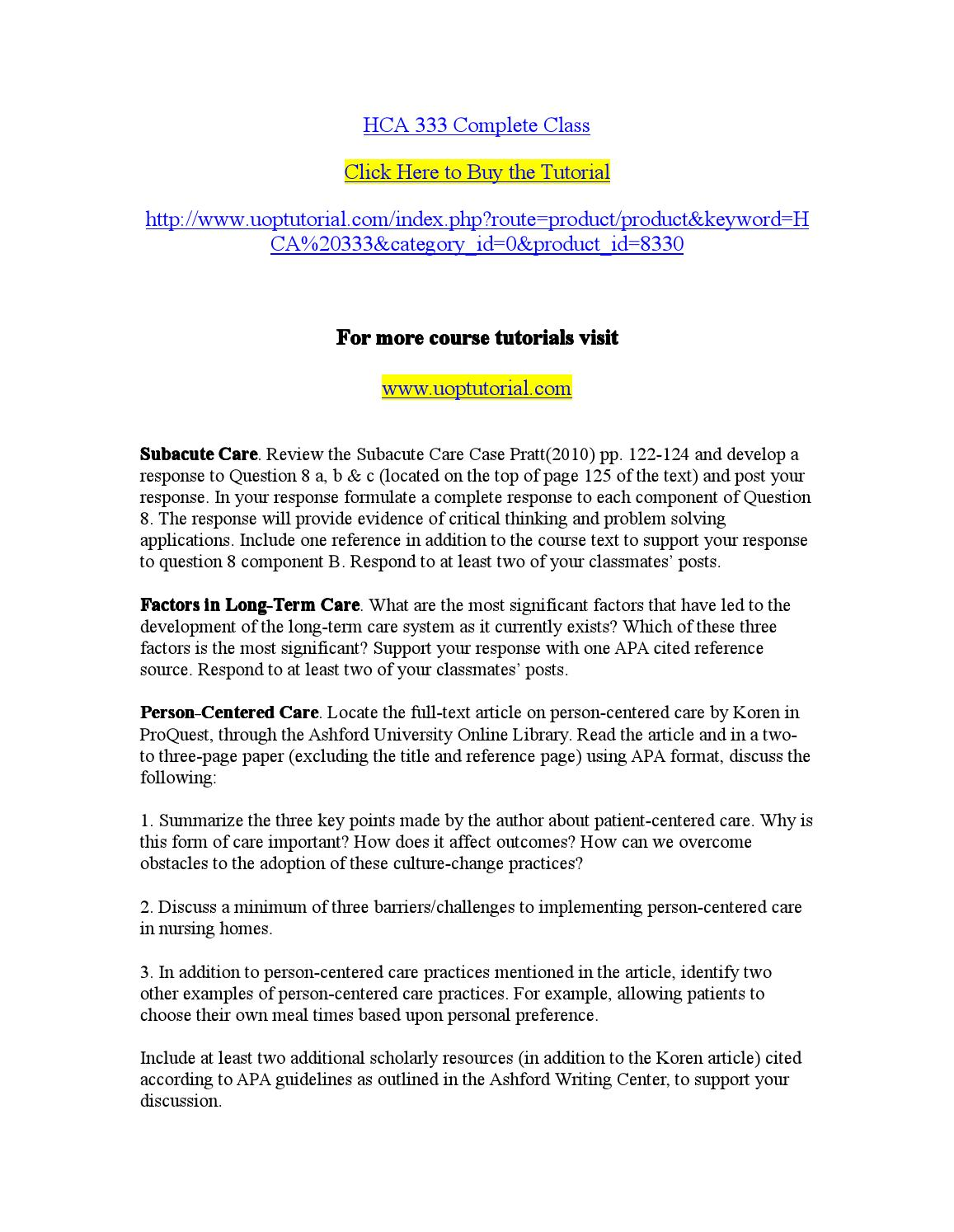 Hca 333 Complete Class Subacute Care Review The Subacute Care Case