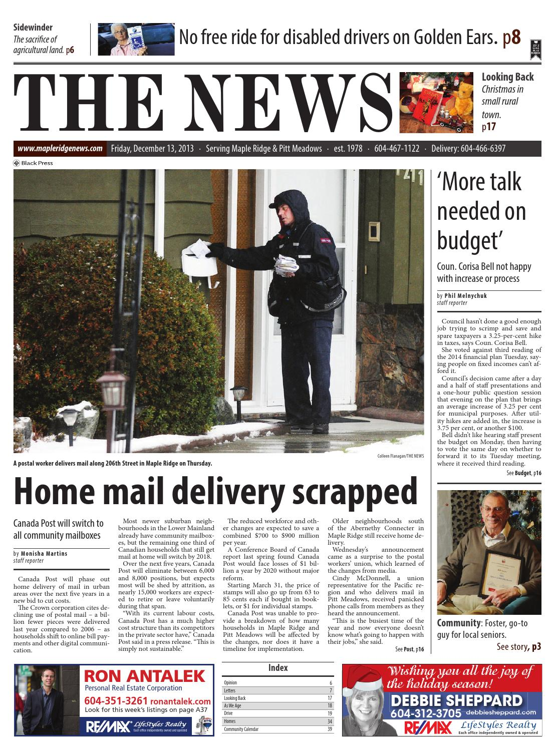 Maple Ridge News, December 13, 2013 by Black Press Media
